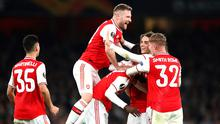 Nicolas Pepe of Arsenal celebrates with team mates after scoring his team's third goal. Photo: Bryn Lennon/Getty Images