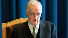 Justice Peter Charleton presides over the Disclosure Tribunal at Dublin Castle yesterday. Photo: Colin O'Riordan