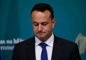 Taoiseach Leo Varadkar at the Government Buildings for a coronavirus press briefing, where they announced from midnight tonight and for a two-week period, everybody in Ireland must stay at home, except in specific circumstances. PA Photo.