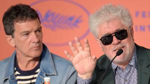 """CANNES, FRANCE - MAY 18: Antonio Banderas and director Pedro Almodovar during the """"Pain And Glory (Dolor Y Gloria/ Douleur Et Glorie)"""" Press Conference during the 72nd annual Cannes Film Festival on May 18, 2019 in Cannes, France. (Photo by Antony Jones/Getty Images)"""