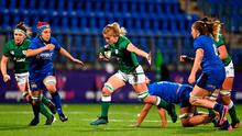 Claire Molloy makes a break during the Women's Six Nations Rugby Championship match between Ireland and Italy at Energia Park in Dublin. Photo: Brendan Moran/Sportsfile