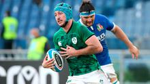 Ireland's Will Connors runs in to score his side's third try during the Six Nations win over Italy at Stadio Olimpico, Rome. Photo: Marco Iacobucci/PA Wire.