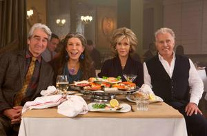 "Sam Waterston, Lily Tomlin, Jane Fonda and Martin Sheen in the Netflix Original Series ""Grace and Frankie"". Photo by Melissa Moseley for Netflix."