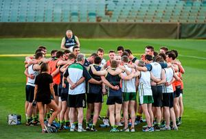 Selector Tony Scullion speaks to the Irish players during a training session ahead of their international rules series game against Australia in Perth. Photo: Ray McManus / SPORTSFILE