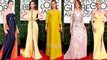 (L to R) Caitriona Balfe, Emily Ratajkowski, Natalie Portman, Emma Stone and Reese Witherspoon at the 2017 Golden Globes