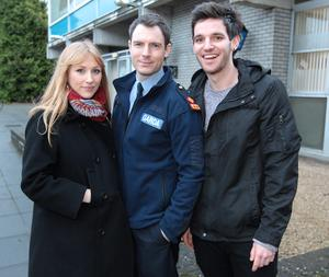 Actors Val O Connor,Richard Flood and Adam Weafer  on the set of Tv3's new soap 'Red Rock'