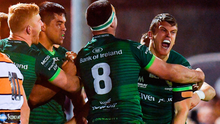Tom Farrell of Connacht, right, celebrates with team-mates after scoring his side's fourth try during the Guinness PRO14 Round 4 match between Connacht and Toyota Cheetahs at The Sportsground in Galway. Photo by Seb Daly/Sportsfile