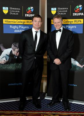 Leinster's Brian O'Briscoll and Leinster head coach Joe Schmidt in attendance at the Hibernia College IRUPA Rugby Player Awards 2013. Burlington Hotel, Dublin. Picture credit: Brendan Moran / SPORTSFILE