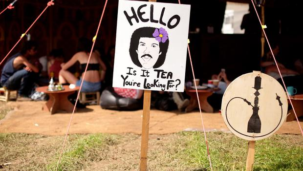 A Lionel Richie sign outside a cafe at the Glastonbury Festival, at Worthy Farm in Somerset.  PRESS ASSOCIATION Photo. Picture date: Saturday June 27, 2015. Photo credit should read: Yui Mok/PA Wire