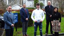 Frank Murphy, Monex (right), who presented the Monex scholarship to Eoghan O'Sullivan with (left) acting principal Hugh Rudden, acting deputy principal Michael Leahy and Joanne O'Sullivan at St Brendan's College Killarney. Photo by Michelle Cooper Galvin