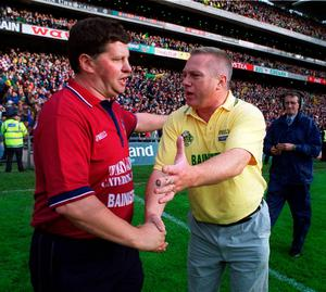 7 October 2000; Kerry Manager Paidi O'Se shakes hands with Galway boss John O'Mahony at the All Ireland Senior Football Final in Croke Park. Picture credit; Brendan Moran/SPORTSFILE
