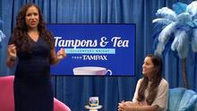 The ad used the format of a talk show to discuss tampons