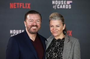 Ricky Gervais and his partner Jane Fallon
