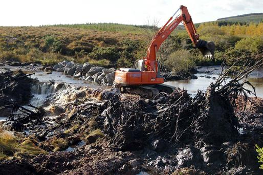 Expensive error: Diggers clear the bog and trees to build dams after the landslide during the construction of Derrybrien wind farm in 2003. Photo: Andrew Downes