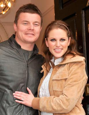 Brian O'Driscoll and Amy Huberman confirm their engagement in 2009.
