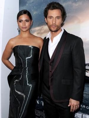 """Camila Alves McConaughey (L) and actor Matthew McConaughey attends the premiere of Paramount Pictures' """"Interstellar"""" at TCL Chinese Theatre IMAX"""