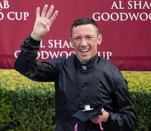 Trainer John Gosden and jockey Frankie Dettori after winning the Al Shaqab Goodwood Cup on Stradivarius during day one of the Goodwood Festival at Goodwood Racecourse, Chichester. PA Photo. Issue date: Tuesday July 28, 2020. See PA story RACING Goodwood Photo credit should read: Edward Whitaker/PA Wire. RESTRICTIONS: Editorial Use, No Commercial Use.