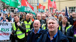 Bus Eireann employee strikers  and supporters  at the demonstration outside  Leinster House earlier this week. Pic Tom Burke