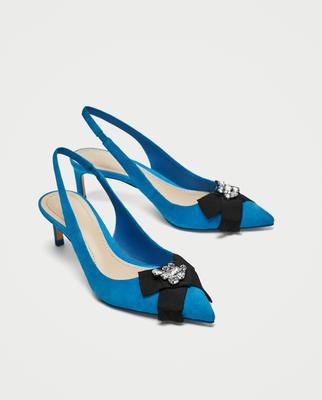 Beaded blue leather shoes, €49.95