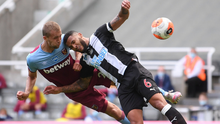 West Ham United's Tomas Soucek heads at goal under pressure from Newcastle United's Jamaal Lascelles. Photo: Reuters