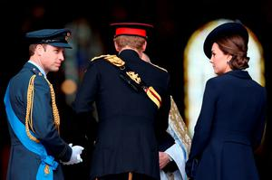 (L-R)  Prince William, Duke of Cambridge, Prince Harry and Catherine, Duchess of Cambridge arrive for a Service of Commemoration for troops who were stationed in Afghanistan