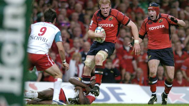 20 May 2006; Paul O'Connell, Munster, is tackled by Serge Betsen, Biarritz. Heineken Cup Final, Munster v Biarritz Olympique, Millennium Stadium, Cardiff, Wales. Picture credit; Brendan Moran / SPORTSFILE
