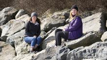 Isolating: Dr Sinéad Crowley and Dr Niamh Grayson in St Helen's Bay, near Rosslare, Co Wexford. They flew in from Perth on Thursday. Photo: Patrick Browne