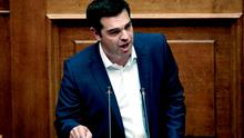 Greek Prime Minister Alexis Tsipras addresses the Greek Parliament in Athens. Photo: Getty Images