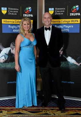 Aisling O'Brien and Malachi Quinn in attendance at the Hibernia College IRUPA Rugby Player Awards 2013. Burlington Hotel, Dublin. Picture credit: Brendan Moran / SPORTSFILE