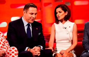 David Walliams and Cheryl Fernandez-Versini during filming of the Graham Norton Show at the London Studios, in central London. PRESS ASSOCIATION Photo. Picture date: Monday March 2, 2014. The programme is due to be aired on Friday March 6. Photo credit should read: Ian West/PA Wire