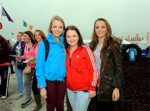 23 Sept 2014;  l-r; Sophie Clancy, 16, Roisin McGrath, 16, and Claire O'Toole, 16, from Ennistymon, Co. Clare.  National Ploughing Championships 2014. Ratheniska, Stradbally, Co. Laois. Picture: Caroline Quinn