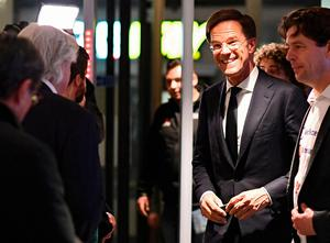 Dutch Prime Minister Mark Rutte of the VVD liberal party arrives at parliament in The Hague, Netherlands, March 15, 2017.      REUTERS/Dylan Martinez