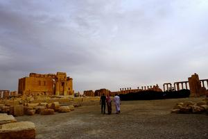 Tourists walk in the Temple of Bel at the historical city of Palmyra October 22, 2010. REUTERS/Omar Sanadiki