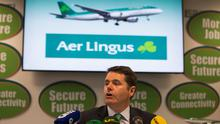 Transport Minister Paschal Donohoe in a press conference on the new Aer Lingus deal tonight. Photo: Fergal Phillips.