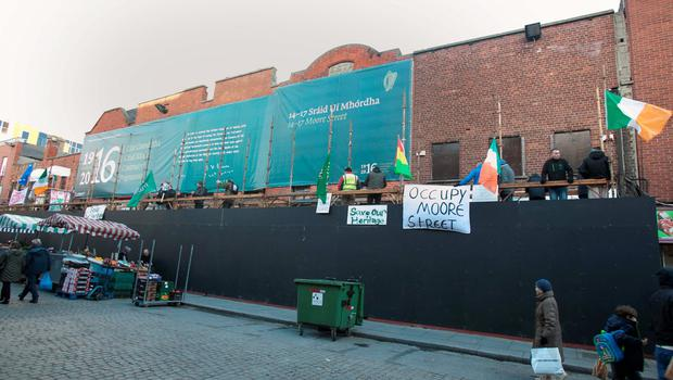 Protesters in Moore Street