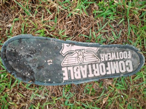 The sole of a shoe found by Blaine Gibson on Riake beach in Madagascar, which may or may not belong to passengers of the MH370 Malaysia Airlines flight