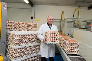 Eggs to go: Gerry McHugh, Glenborin Free Range Eggs who has installed his first egg vending machine at McIntyre's Service Station in Donegal Town. Photo Clive Wasson