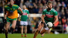 25 January 2020; Aidan O'Shea of Mayo in action against Michael Langan of Donegal during the Allianz Football League Division 1 Round 1 match between Donegal and Mayo at MacCumhaill Park in Ballybofey, Donegal. Photo by Oliver McVeigh/Sportsfile