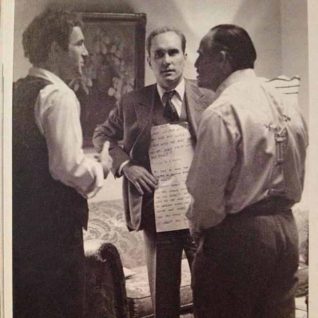 James Caan, Robert Duvall and Marlon Brando on the set of The Godfather Credit: Reddit
