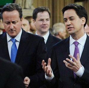 David Cameron, left, Nick Clegg, and Ed Miliband, right