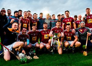 Westmeath players following victory over Antrim. Photo: Stephen McCarthy/Sportsfile