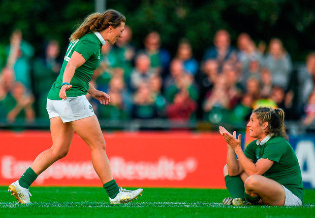 Katie Fitzhenry (left) and Alison Miller will be hoping to be celebrating again after Ireland's match against Japan tomorrow Photo: Sportsfile