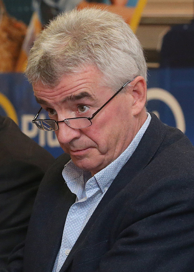 19/9/2019, Michael O'leary, Chief Executive, with Stan McCarthy, Deputy Chairman, left , and David Bonderman, Chairman, at the Ryanair Annual General Meeting at the city North Hotel. Picture credit; Damien Eagers / INM