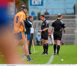 24 May 2015; Referee Colm Lyons speaks to Clare manager Davy fitzgerald during the first half. Munster GAA Hurling Senior Championship Quarter-Final, Clare v Limerick. Semple Stadium, Thurles, Co. Tipperary. Picture credit: Ray McManus / SPORTSFILE