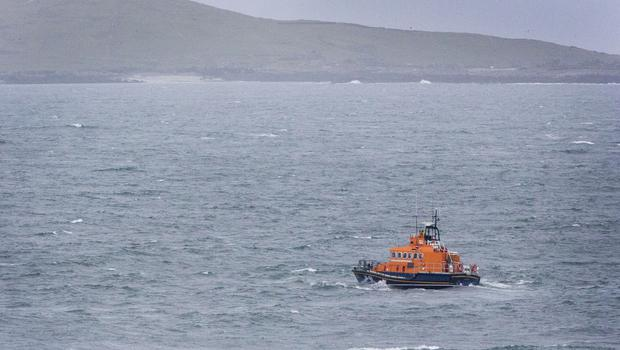 An RNLI Lifeboat pictured on its search for missing Coast Guard Crew members at Blacksod Bay. PIC COLIN O'RIORDAN