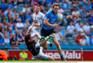 28 June 2015; Dean Rock, Dublin, is fouled by Mark Donnellan, Kildare, resulting in a black card and penalty. Leinster GAA Football Senior Championship, Semi-Final, Dublin v Kildare. Croke Park, Dublin. Picture credit: Ramsey Cardy / SPORTSFILE