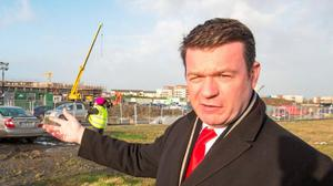 Enviroment Minister, Alan Kelly pictured at the new Modular homes at Poppintree