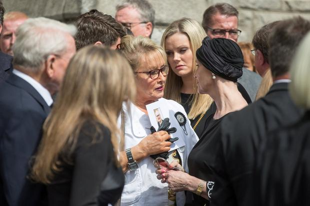 Adèle King (Twink) with Alma Ryan wife of Arthur Ryan at the Church of the Sacred Heart, Donnybrook. Pic:Mark Condren 13.7.2019
