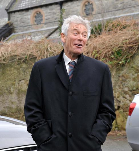 Adam Clayton at the funeral of Rev.Jack Heaslip at St.Marys Church Howth