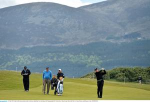26 May 2015; Ernie Els hits his second shot on the 1st fairway. Dubai Duty Free Irish Open Golf Championship 2015, Practice Day 2. Royal County Down Golf Club, Co. Down. Picture credit: Ramsey Cardy / SPORTSFILE